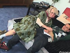 Bald cum-hole grandma pleases youthful boy